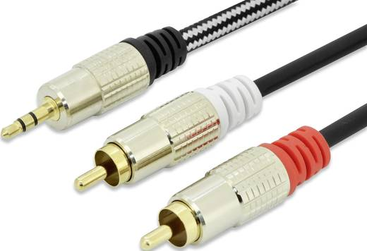 Jack / RCA audio csatlakozókábel, 1 x Jack dugó 3,5 mm-es - 2x RCA dugó, 5 m, fekete, aranyozott érintkező, ednet