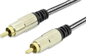 RCA audio csatlakozókábel, 1 x RCA dugó - 1x RCA dugó 2,5 m, fekete, ednet ednet
