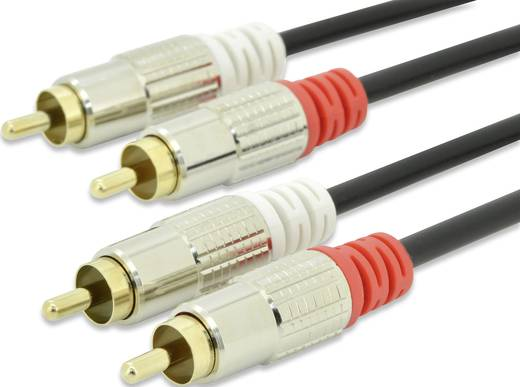 RCA audio csatlakozókábel, 2 x RCA dugó - 2x RCA dugó 2,5 m, fekete, ednet