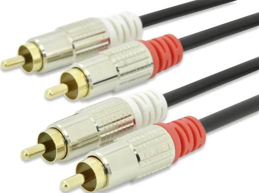RCA audio csatlakozókábel, 2 x RCA dugó - 2x RCA dugó, 5 m, fekete, ednet
