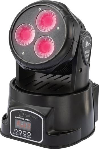 LED-es mozgófejes fényszóró, 3 x 15 W, renkforce GM107 Moving-Head