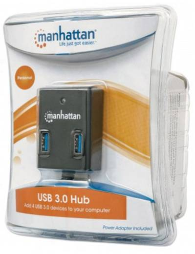 4 port USB 3.0 hub Manhattan Fekete