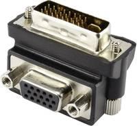 DVI - VGA átalakító adapter, 1x DVI dugó 24+5 pól. - 1x VGA aljzat 90°, fekete, Renkforce (RF-4128855) Renkforce