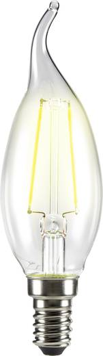 LED izzó, szélfútta gyertya forma, 120 mm 230 V E14 2 W = 25 W melegfehér A++, sygonix