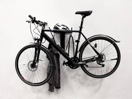 Fali kerékpártartó, 2 biciklihez, acél/műanyag, fekete, Eufab 16403
