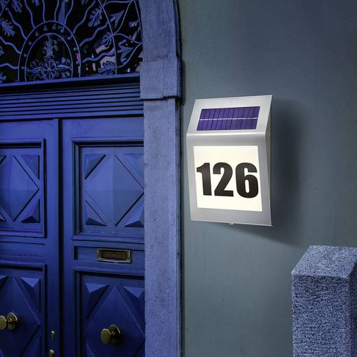 Napelemes házszám megvilágítás, melegfehér/nemesacél, Esotec 102030 Style