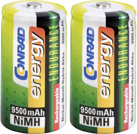 Góliát akku D NiMH, 1,2V 9500 mAh, 2 db, Conrad Energy Endurance HR20, LR20, D, AM1, XL, MN1300, 813, E95, LR20N, 13A