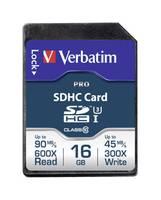 SDHC kártya 16 GB Verbatim PRO Class 10, UHS-I, UHS-Class 3 (47020) Verbatim