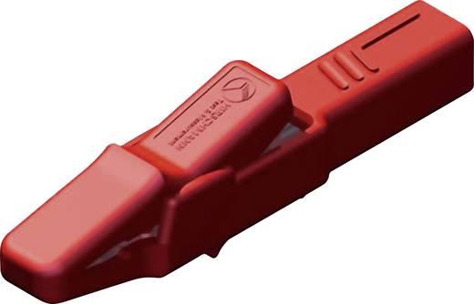 Szigetelt krokodilcsipesz, mérőcsipesz CAT II/300V-ig 4mm-es banándugó aljzattal, piros SKS Hirschmann AK 2 B