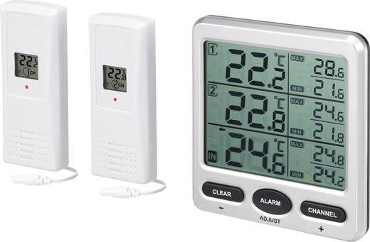 Vezeték nélküli külső-/belső hőmérő mérő, 2 külső érzékelővel, renkforce FT0076