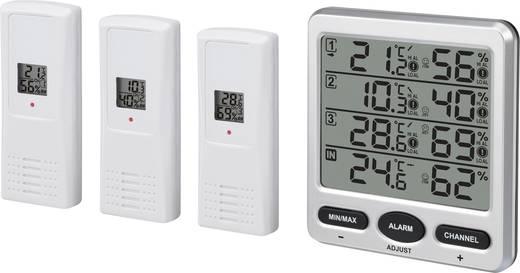 Vezeték nélküli külső-/belső hőmérő és páratartalom mérő, 3 külső érzékelővel, renkforce FT0073