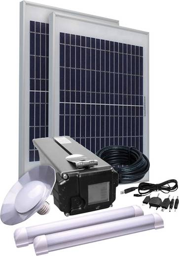 Napelemes készlet 30W, akkuval, kábellel és 3 db lámpával, Energy Comfort Solar Side Three 390958