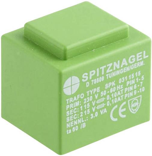EI 30/18 Nyák transzformátor SPK, 230 V / 2 x 6 V 2 x 250 mA 3 V ASPK 0310606 Spitznagel