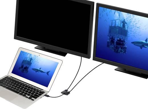 DisplayPort - HDMI, VGA átalakító adapter, 1x DisplayPort dugó - 1x HDMI aljzat, 1x VGA aljzat, fekete, Renkforce