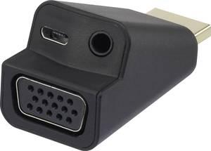 HDMI - VGA átalakító adapter, 1x HDMI dugó - 1x VGA, 1x 3,5 mm-es jack aljzat, fekete, Renkforce (RF-4149768) Renkforce