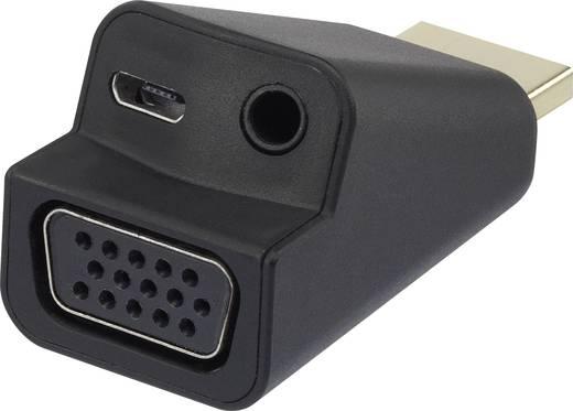 HDMI - VGA átalakító adapter, 1x HDMI dugó - 1x VGA, 1x 3,5 mm-es jack aljzat, fekete, Renkforce