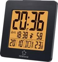 Rádióvezérelt DCF ébresztőóra, beltéri hőmérővel, fekete színű Renkforce 1383425 Renkforce