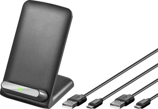 Asztali telefontöltő, dokkoló állomás, vezeték nélküli indukciós töltő, max.1A Goobay Qi-Standard 44167