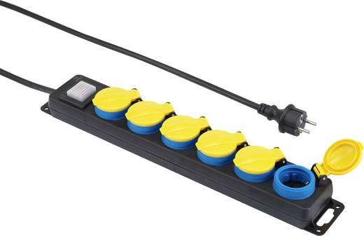 Kültéri hálózati elosztó kapcsolóval, 6 részes, fekete/sárga/kék, renkforce