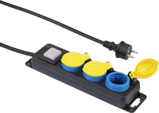 Kültéri hálózati elosztó kapcsolóval, 3 részes, fekete/sárga/kék, renkforce