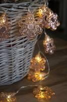 Beltéri LED-es fényfüzér, virág motívumos, 10 LED, elemes, 0,9 m/1,2 m, melegfehér, Konstsmide 3144-603 (3144-603) Konstsmide