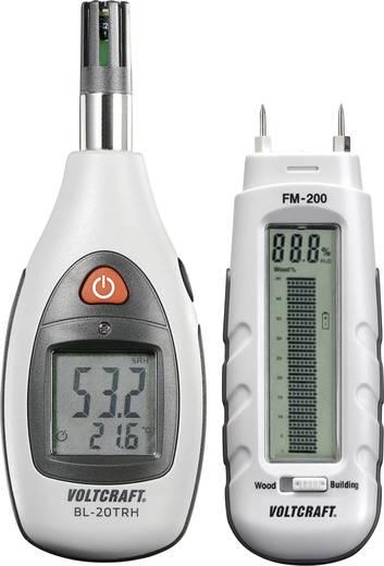 Anyagnedvességmérő és levegő hőmérséklet és páramérő műszer, készletben Voltcraft FM-200 és BL-20THR