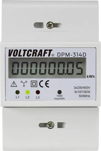 DIN sínre szerelhető 3 fázisú digitális fogyasztásmérő 100A, Voltcraft DPM-314D