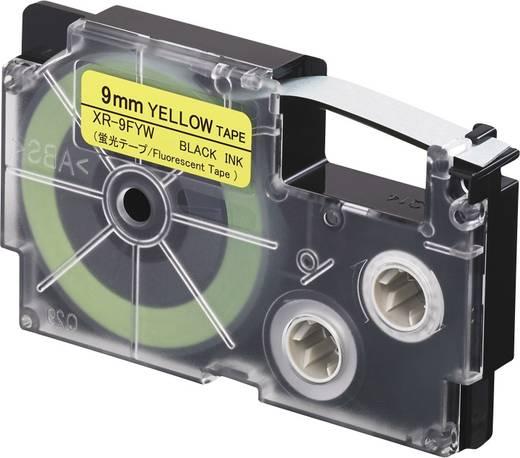 Feliratozó szalag, sárga (fluoreszkáló)/fekete, 9 mm x 5,5 m, Casio XR-9FYW