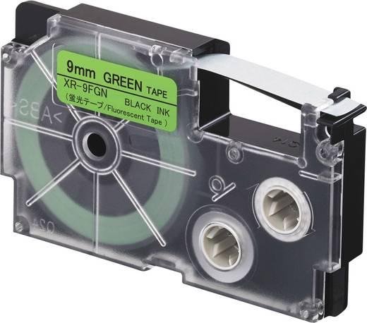 Feliratozó szalag, fluoreszkáló Casio XR-9FGN Szalagszín: Zöld (fluoreszkáló) Szövegszín:Fekete 9 mm 5.5 m