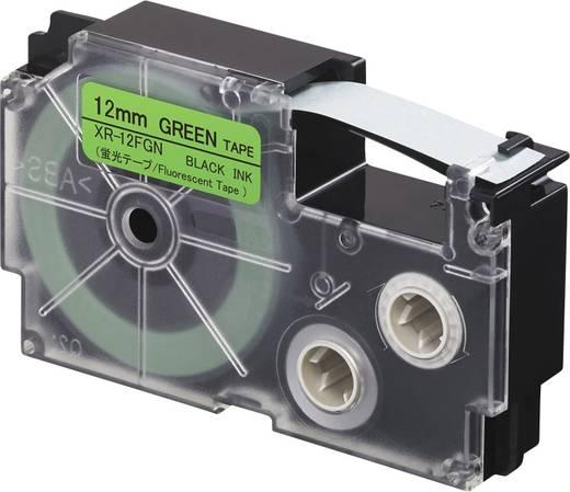 Feliratozó szalag, fluoreszkáló Casio XR-12FGN Szalagszín: Zöld (fluoreszkáló) Szövegszín:Fekete 12 mm 5.5 m