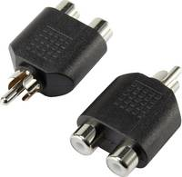 Jack Audio Y adapter, 1 x RCA dugó - 2x RCA alj, fekete, SpeaKa Professional (SP-5564192) SpeaKa Professional
