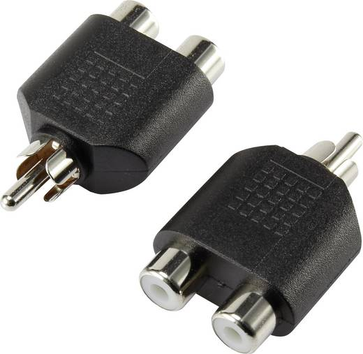 Jack Audio Y adapter, 1 x RCA dugó - 2x RCA alj, fekete, SpeaKa Professional