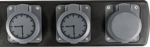 Hálózati elosztó időkapcsoló órával, 3 részes, szürke/fekete, Heitronic 45074