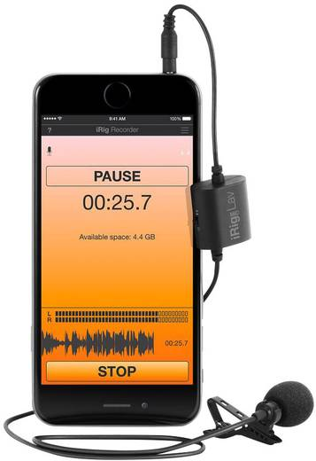 Csiptetős mikrofon, Lavalier konferencia mikrofon Android és Apple iOS készülékekhez IK Multimedia IP-IRIG-MICLAV-IN