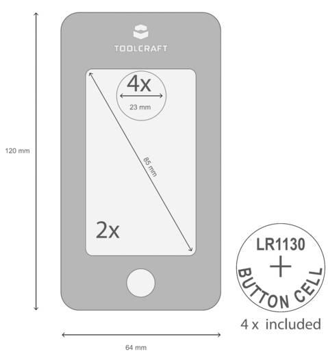 Kézi nagyító, LED-es világítással 2/14x-es nagyítással Toolcraft 1400301