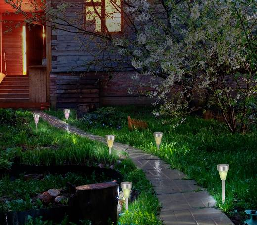 Leszúrható napelemes kerti lámpa készlet, kültéri LED-es dekor lámpa, mozaik, 3 db, Renkforce