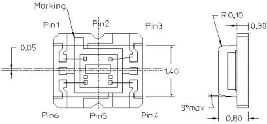 Miniatűr SMT környezeti fény érzékelő, CHIP-LED 6 pólusú, 2 - 3,6 V, Avago Technologies APDS-9007-020