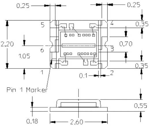 Miniatűr SMT környezeti fény érzékelő, CHIP-LED 6 pólusú, 2,4 - 3 V, Avago Technologies APDS-9300-020