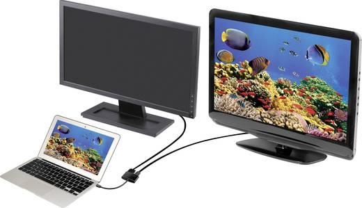 DisplayPort - VGA, HDMI átalakító adapter, 1x mini DisplayPort dugó - 1x VGA aljzat, 1x HDMI aljzat, fekete, Renkforce