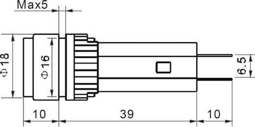 LED-es jelzőlámpa 230 V, Ø 18 mm, piros, AD16-16A/230V/R