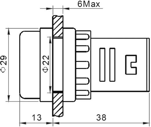 LED-es jelzőlámpa 12 V, Ø 29 mm, piros, AD16-22DS/12V/R
