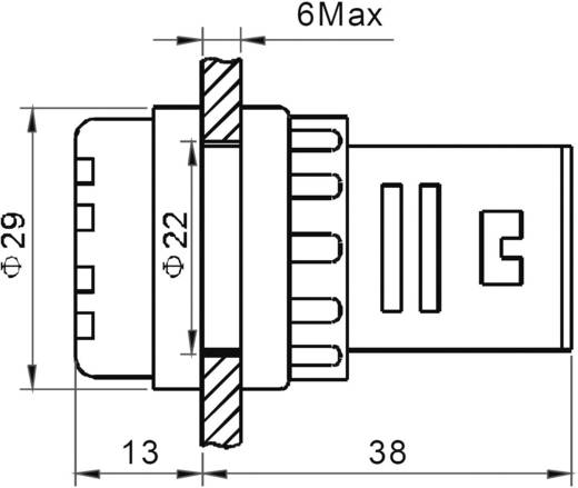 LED-es jelzőlámpa 12 V, Ø 29 mm, piros, AD16-22ES/12V/R