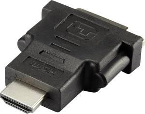 HDMI - DVI átalakító adapter, 1x HDMI dugó - 1x DVI aljzat 24+1 pól., aranyozott, fekete, Renkforce Renkforce