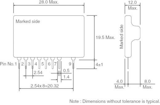 DC/DC átalakító, SIP-9, kimenet: 5 V/DC, 500 mA, bemenet: 8 - 38 V/DC, szigeteletlen, ROHM Semiconductor BP5221A
