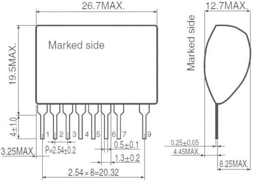 DC/DC átalakító, SIP-9, kimenet: -12 V/DC, 100 mA, bemenet: 8 - 20 V/DC, szigeteletlen, ROHM Semiconductor BP5122 ház