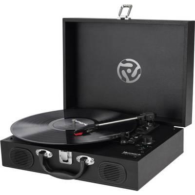 Retro koffer lemezjátszó USB-s bakelit lemezjátszó beépített digitalizálóval fekete színű Numark PT01