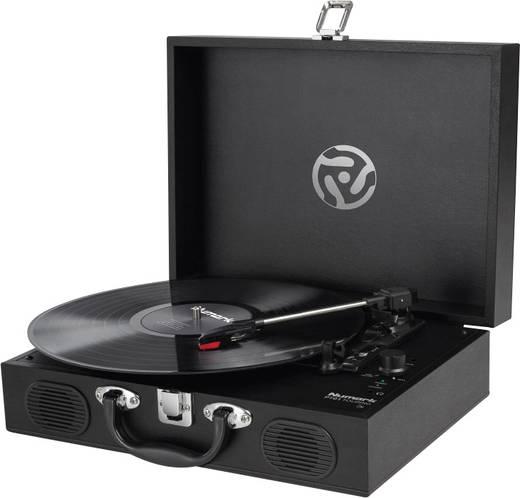 Retro koffer lemezjátszó, USB-s bakelit lemezjátszó beépített digitalizálóval, fekete színű Numark PT01