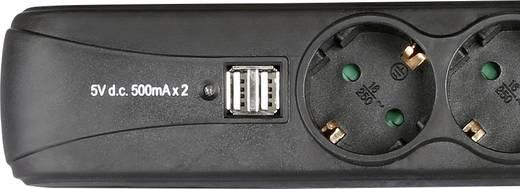 Hálózati elosztó kapcsolóval, 3 részes, 2 x USB töltő, fekete, Adam Hall 8747S3USB