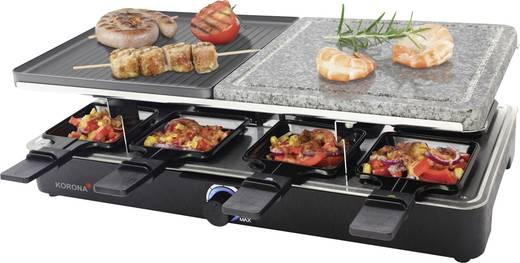 Raclette sütő, raclette grill, kőlappal 8 sütő serpenyővel, hőmérséklet szabályozással, matt fekete színű Korona 45051