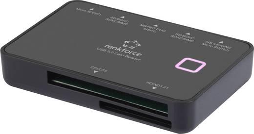 Külső memóriakártya olvasó USB 3.0, fekete, renkforce CR33e-S